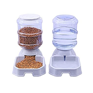 Chuanyue Pet Waterer Feeder,Pet Automatic Waterer,Dog Water Dispenser,1 Gallon Cat Dog Food And Water Dispenser By (Square type)