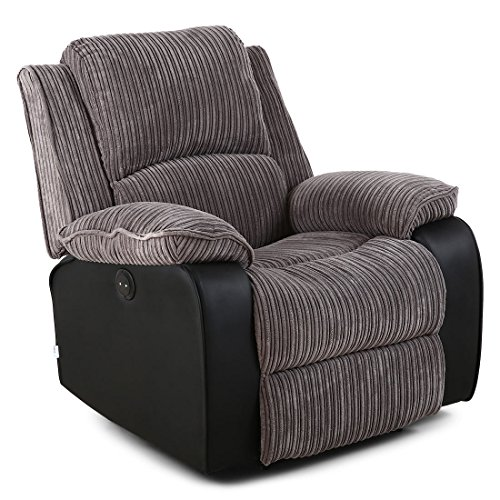 POSTANA Jumbo Cord Fabric Power Recliner Armchair Electric Sofa Reclining Chair (Grey)