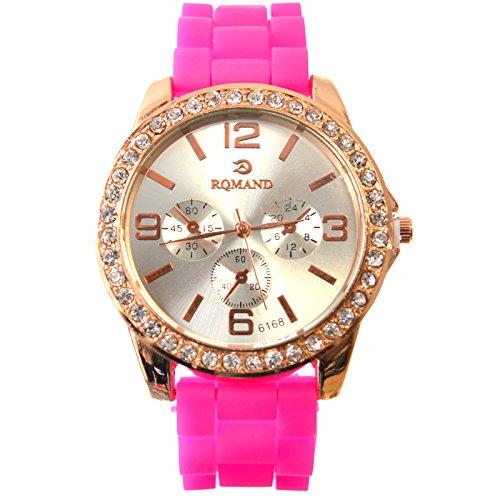 RQMAND® Damen-Armbanduhr, Gummi, schweißresistent, violettes Band, modisches und sportliches Design