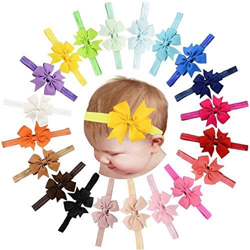 Lot de 20 bandeaux pour cheveux et nœud pour bébé, filles, ruban gros-grain