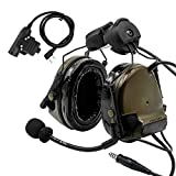 TAC-Sky Comtac III Helmet Tactical Headset,Side Rail Airsoft Earmuffs with PTT and Microphone for Hunting (Army Green)