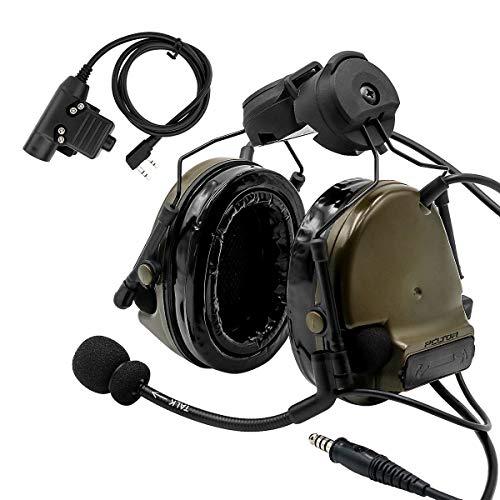 TAC-Sky Comta III Helm Taktisches Headset, Seitenschiene Airsoft Ohrenschützer mit PTT und Mikrofon für die Jagd (Armeegrün)