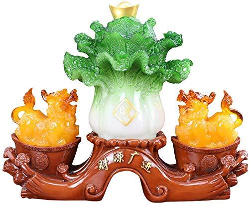 Escultura,Pi Xiu Jade Repollo Decoración Hogar De La Suerte Sala De Estar Gabinete De Vino Decoración Pi Xiu Oficina Regalos De Inauguración De La Casa Atraer Riqueza Estatuillas Creativas Escultur