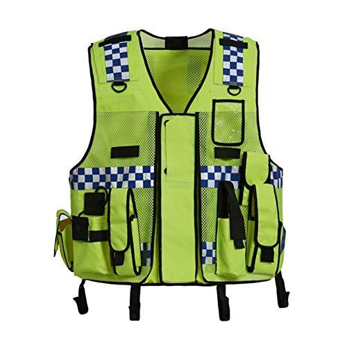 Hycoprot Gilet di Sicurezza Antinfortunistici Alta Visibilità Sicurezza Polizia Stradale Tattica Regolabile Costruzione di Veicoli Pesanti Premium Premium con Multi Tasche, Taglia Unica (Giallo neon)