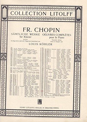 Fr. Chopin. Walzer. F moll - Fa min. F min. Op. 70 No. 2. Sämtliche Werke für Klavier, kritisch durchgesehen und mit Fingersatz bezeichnet von Louis Köhler. Collection Litolff No. 7258 (Verlagsnummer Band 1044 No. 12)