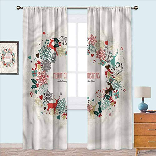 YUAZHOQI Christmas Bedroom Curtains Vintage Garland Blackout Curtains for Living Room/Bedroom 63 Inches Long(2 Panels)