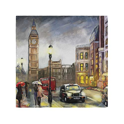 JIRT Reusable Cloth Napkins Dinner Home Table Banquet Big Ben London Street Washable