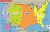 US Time Zone Map - Laminated (36' W x 23.6' H)