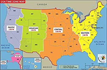 US Time Zone Map - Laminated  36  W x 23.6  H