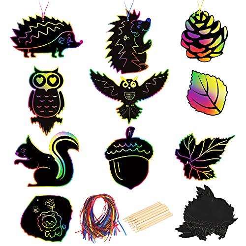 40 piezas de arte de arañazos con temática de otoño MONCAP papel mágico negro para rascar arco iris tarjetas con 50 cintas y 12 lápices de madera para niños y niñas, proyectos de actividad
