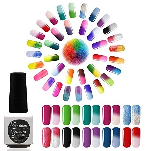 Frenshion 10 Unids 7.3 ML Esmalte de Uñas de Gel Camaleón Térmico Semi Permanente Soak-off UV LED Gel Polaco Temperatura Cambio de Color Polaco-Elija 10 Unids
