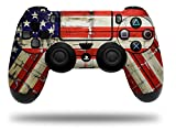 WraptorSkinz Skin compatible with Sony PS4 Dualshock Controller PlayStation 4 Original Slim and Pro Painted Faded and Cracked USA American Flag (CONTROLLER NOT INCLUDED)