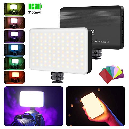 VL120 LED Video Light, VIJIM LED Light for Video, On-Camera Light with Built-in 3100mAh Battery 6-Pack Colored Filters, Video Lighting Compatible with Canon Nikon Sony and Other DSLR Cameras