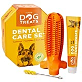 Natural Dog Treats Cepillo de Dientes y Dentífrico Set para Perros, 100% Natural Caucho Dog Brushing Stick, Juguete para Masticar, Tall Large