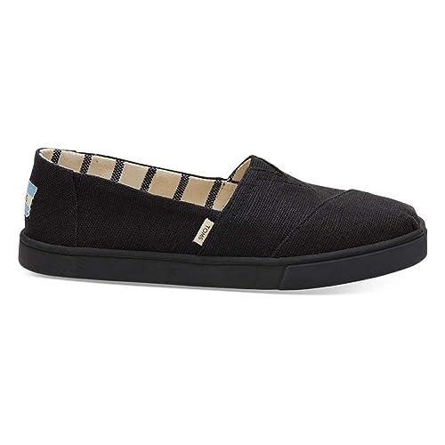 TOMS Heritage Canvas Cupsole Alpargatas Black & Black Slip-On Shoes, Black/Black