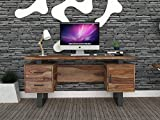 INMARWAR Solid Wood Office Study Desk for Home | Laptop Computer Table with 2 Drawers & Cabinet Storage | Writing Table | Sheesham Wood, Natural Finish