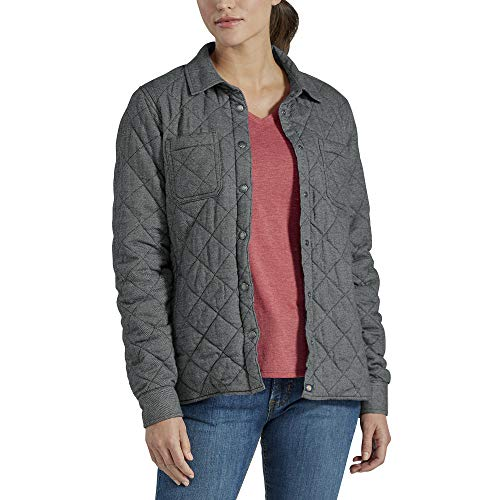 Dickies Women's Quilted Flannel Shirt Jacket, Gray Two Tone Herringbone, Extra Large