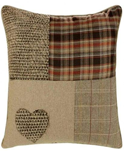 Ideal Textiles Patchwork Cushion Cover, Chenille, Natural Cushion Covers, 18' x 18', 45cm x 45cm