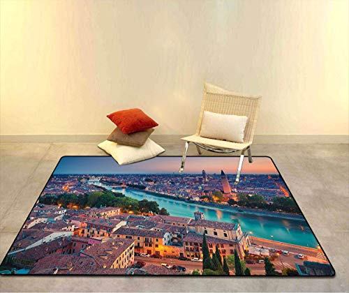 "European Doormats Sofa Rug, Verona Italy During Summer Sunset Blue Hour Adige River Medieval Historcal Quick Dry Floor Mat with Non-Slip Back, 23"" W x 35"" L Aqua Coral Green"