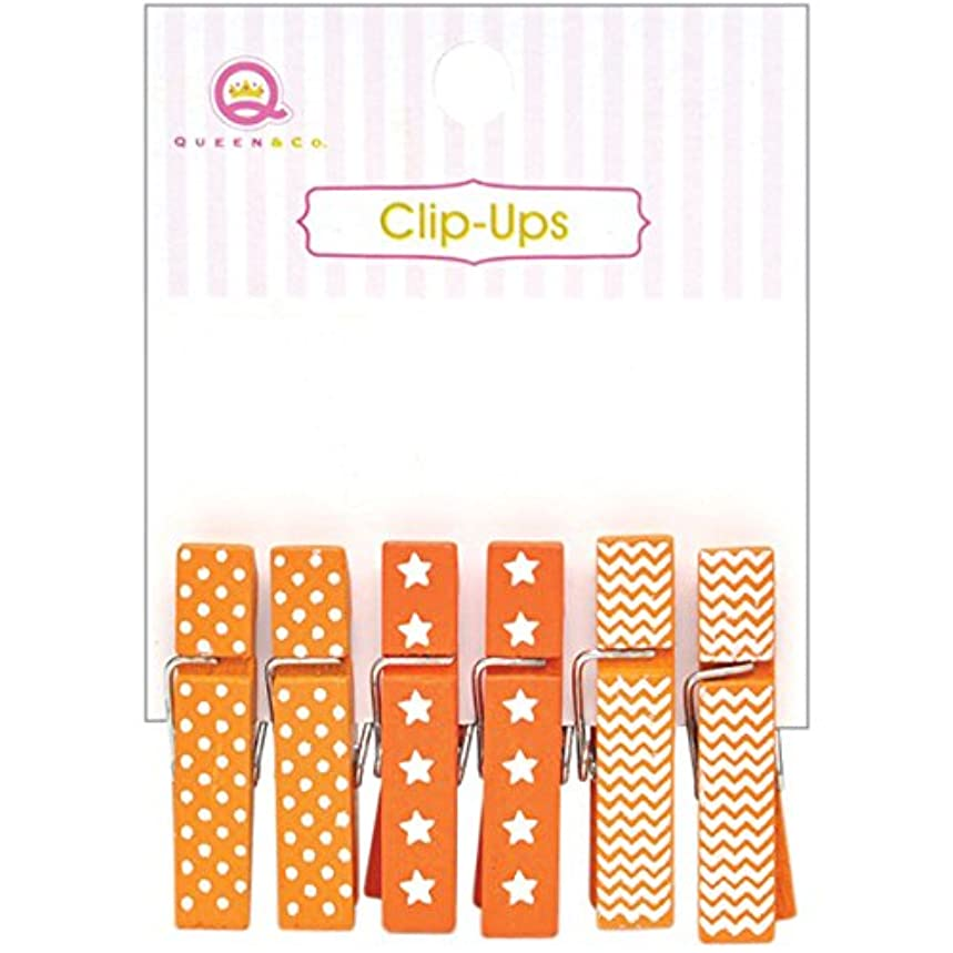 Queen & Co Clip-Ups Clothespins (6 Pack), Mini, Orange