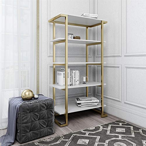 Mejor Nathan James Theo 5-Shelf Ladder Bookcase with Brass Metal Frame, 5-Tier, White/Gold crítica 2020