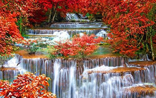 Q&K Puzzle 1500 Teile Puzzel Für Erwachsene Kind Puzzles Jigsaw Puzzle Game Toys Geschenk - Herbstlandschaft des Wasserfallwaldes