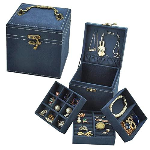 lvenyz Caja de joyería retro continental multicapa a cuadros pulsera pendientes cadena princesa simple joyería almacenamiento cosméticos caja