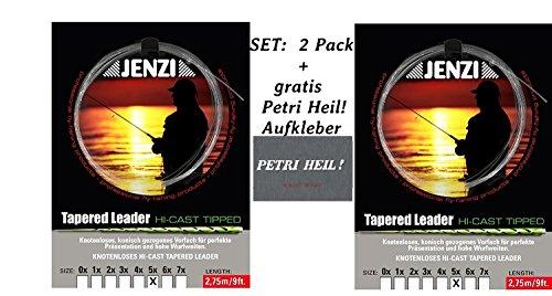 Jenzi Set: 2 Pack Tapered Leader- Fliegenvorfach 5X/0,16/0,52 + Gratis Petri Heil! Aufkleber