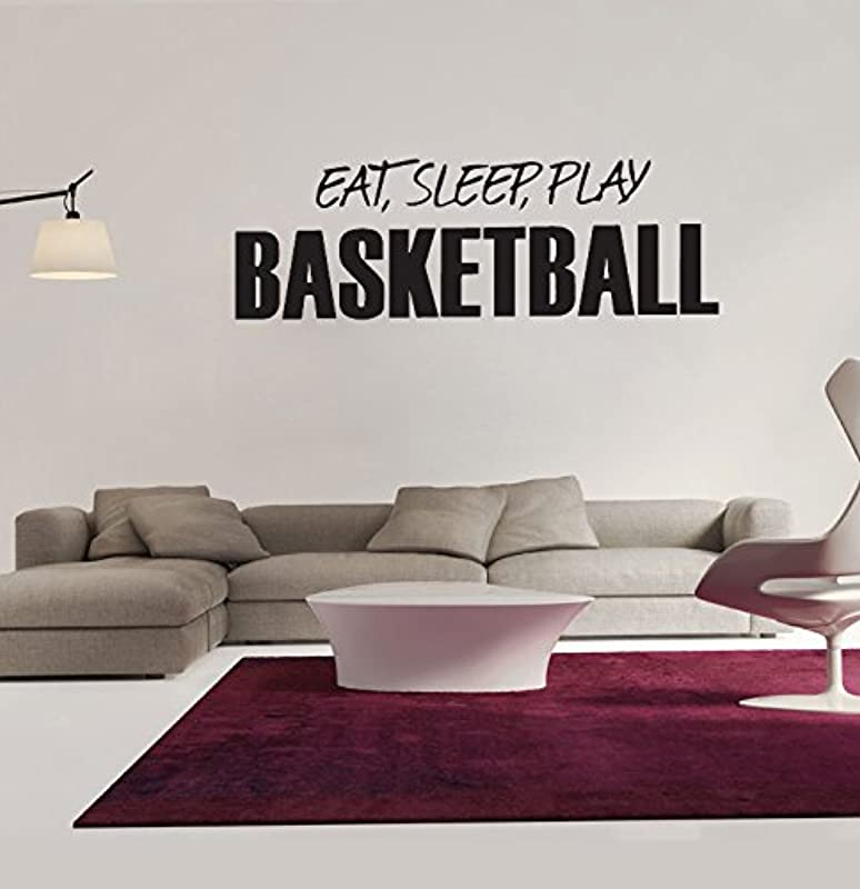 Amaonm Black Vinyl Quotes Saying EAT Sleep Play Basketball Wall Decals Sports Lettering Wall Stickers Murals Living Room Art Decor Kids Room Boy Bedroom Playroom School Wall Decal
