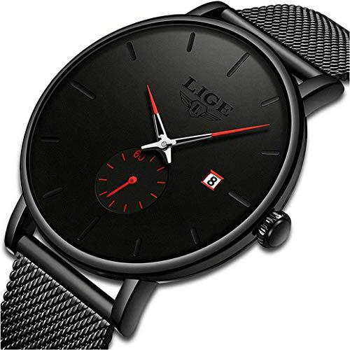 LIGE Reloj para Hombre Impermeable Cuarzo Analógico Reloj Negro Acero Inoxidable Malla Banda Moda Negocio Reloj de Pulsera Unisexo