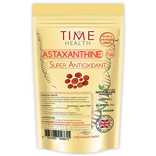 Astaxanthin - 7mg Optimal Dose - 120 Capsules - Super Antioxidant - Haematococcus Pluvialis - 100% Pure Natural Bioavailable 4 Month Supply - UK Manufactured - Zero Additives (120 capsule pouch)