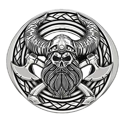 FLQWLL Guerrero Vikingo Doble Hacha Anillo De Calavera Mitología Nórdica para Hombre Anillo De Calavera Retro Anillo De Calavera Punk Regalo,Plata,12