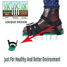 ZARQ Chaussures daérateur de Pelouse, 1 Paire 26 Vis Sandales daération de Pelouse Portable Aérateur de Pelouse…