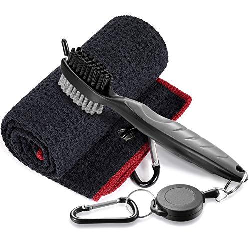 HomeDejavu Cepillo y Limpiador para Palos de Golf Cepillo de Dos Lados Nailon y Acero con Clip de sujeción, Toallas de Golf de Microfibra para Colgar en Bolsas de Golf