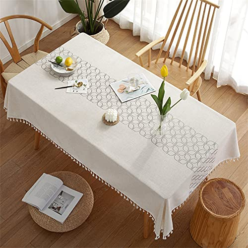 Rectangular Polyester Tassel Tablecloth Home Living Room Kitchen Dining Cafe Solid Color White Tablecloth Four-Leaf Clover Printed Coffee Table Cloth 110x110cm