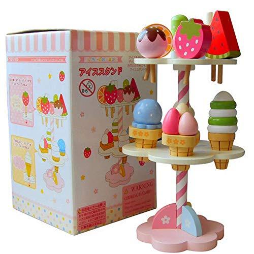 11 Stück Eiscreme Spielzeug aus Holz,Eisständer Kinder Küchenspielzeug,DIY Eiswagen Spielzeug Speiseeis Dessert Rollenspiel Lernspielzeug für Kinder