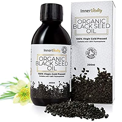 Organic Black Seed Oil Cold Pressed - 200ml High Strength Pure Virgin Oil in a Glass Bottle by Inner Vitality