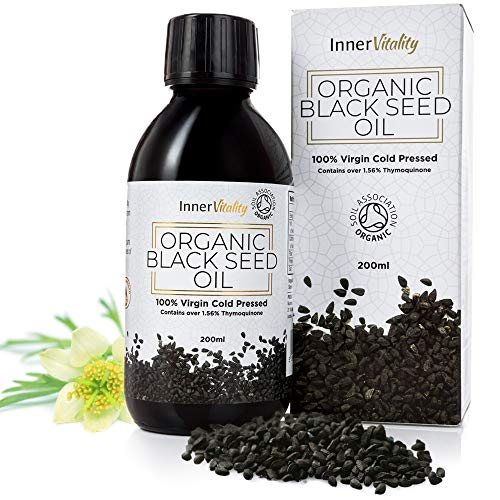 Organic Black Seed Oil Cold Pressed - 200ml High Strength 3X% - Pure Virgin Oil in a Glass Bottle by Inner Vitality