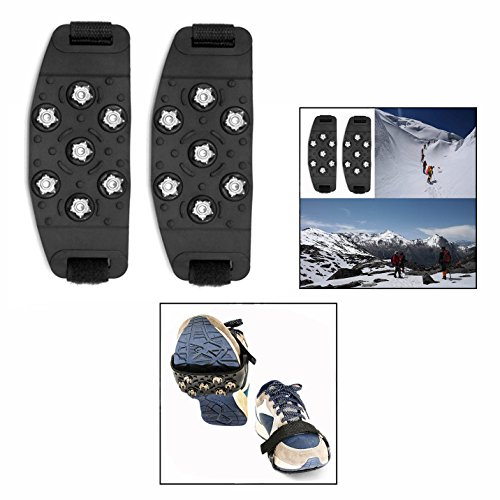 OFKPO 1 Pair Black Anti Slip Ice Grippers Snow Traction for Climbing Walking and Hiking