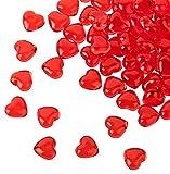 Kleenes Traumhandel 100 rote Acryl Herzen mit 12 mm Durchmesser - Dekosteine Tischdekoration für Hochzeit und Verlobung - Ideale Streudeko