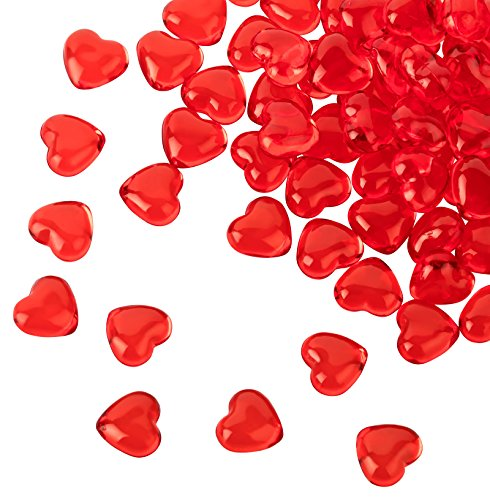 Kleenes Traumhandel - 100 corazones acrílicos rojos de 12 mm de diámetro, piedras decorativas para mesa de fiesta de boda y compromiso, ideal como decoración
