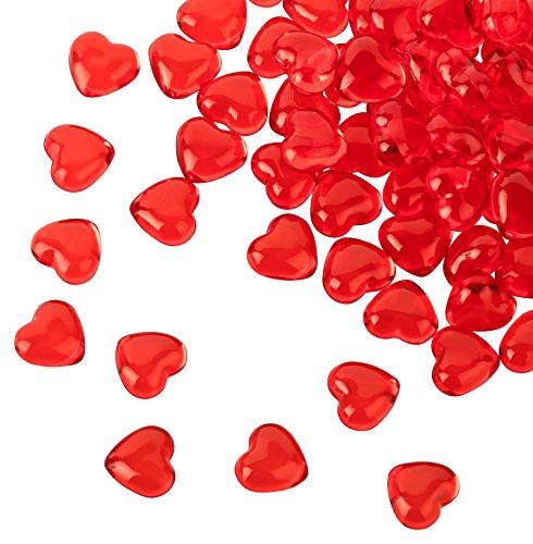Kleenes Traumhandel, 100 cuori in acrilico rosso con diametro di 12 mm – Pietre decorative da tavolo per matrimonio e fidanzamento – Decorazione ideale