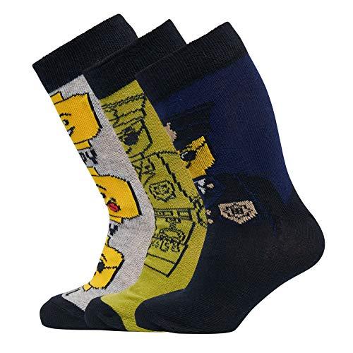 LEGO Wear Jungen CM Socken,, 3per pack Mehrfarbig (Grey Melange 912), 26 (Herstellergröße: 26/27)