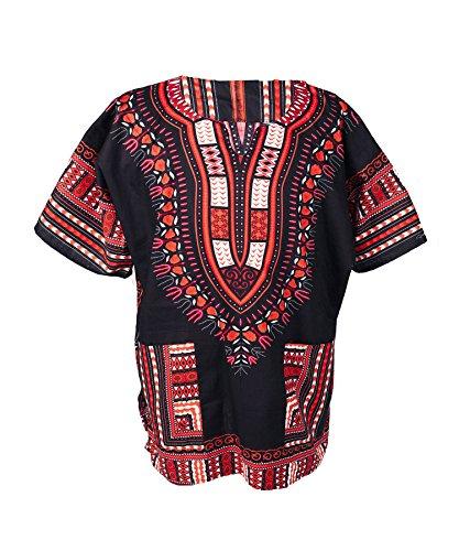 Lofbaz - Unisex Dashiki - Traditionelles Oberteil mit afrikanischem Druck XS Schwarz and Orange