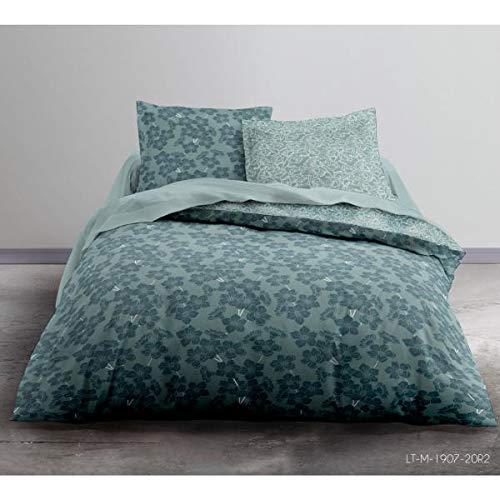 Housse de Couette Fanny, cocooning, Gris/Bleu, Adulte, 220x240cm, 2 Personnes, 100% Coton Flanelle, Toucher Tout Doux