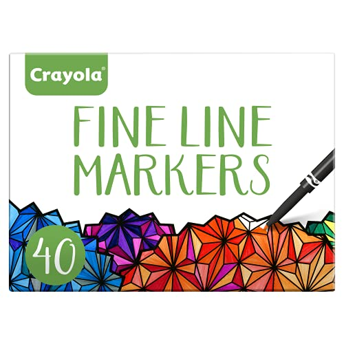Crayola Fine Line Markers Adult Coloring Set, Kids Indoor Activities At Home, Gift, 40 Count
