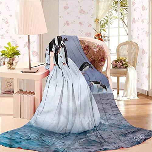 """alisoso 60"""" W x 91"""" L Underwater Light Weight Warm Blanket Plush& Warm Wild Antartica Penguin"""
