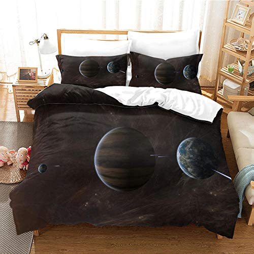 Duvet Cover 3D Outer Space Printed Quilt Cover With Zipper Closure,3 Pieces(1 Duvet Cover + 2 Pillowcases), Soft Microfiber Bedding 200X200Cm