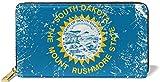 South Dakota State Flag Print Portefeuille en Cuir véritable pour Femme