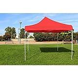 Solycarpa Carpa Plegable Sin Laterales 3x3 Rojo. Incluye Piquetas, Vientos y Bolsa de Transporte para Eventos, Mercadillos y Puestos Ambulantes